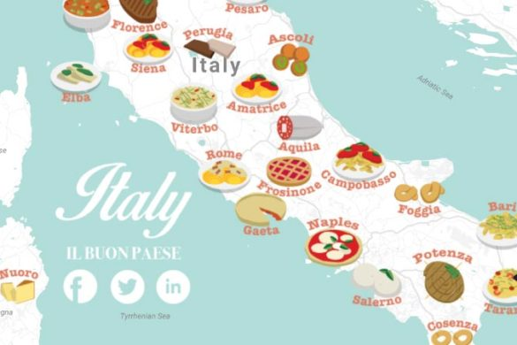 traditional Italian food map featuring main cities