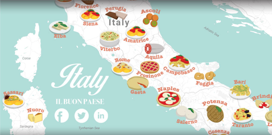 Italian food map cuisine of italy by city the roman for Avventura journeys in italian cuisine